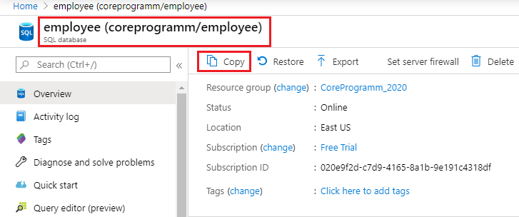 How to copy an Azure SQL database using the Azure Portal