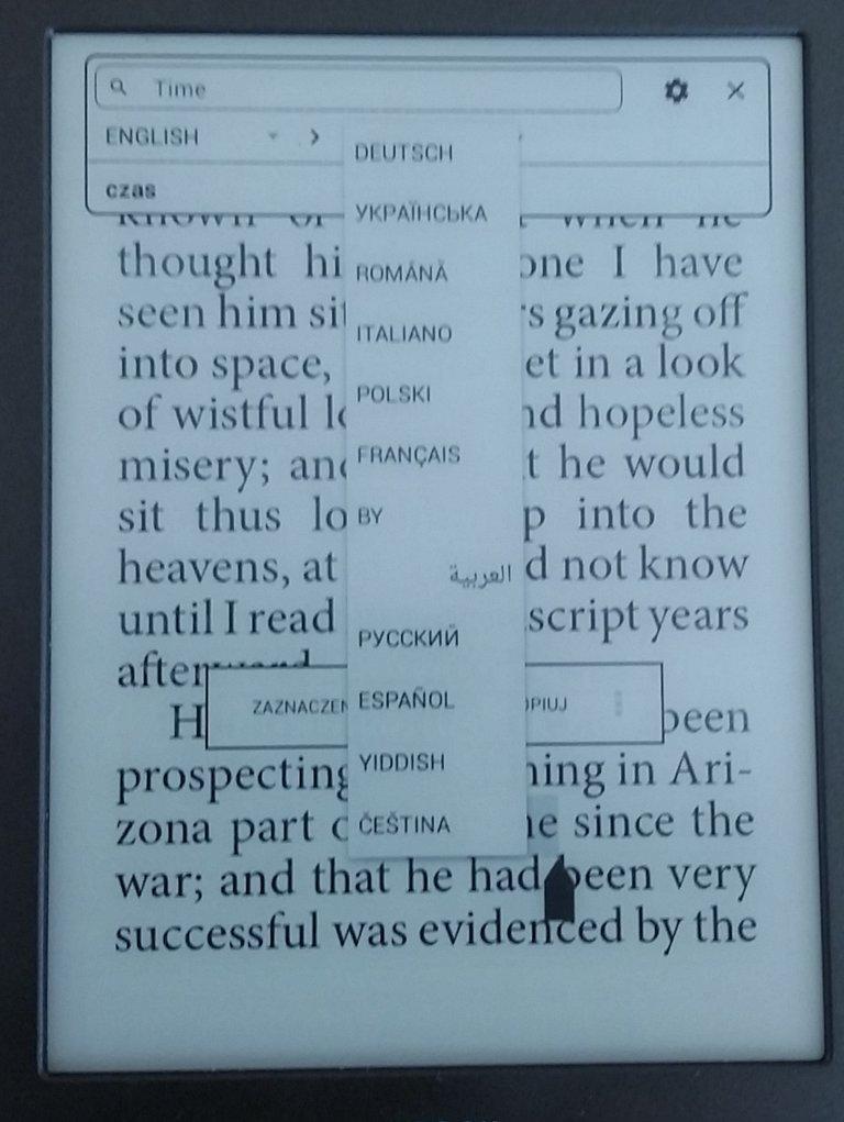 Działanie słownika w czytniku InkBOOK Classi 2