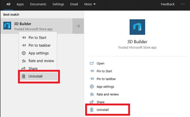 Menghapus Aplikasi 3D Builder dari Start Menu