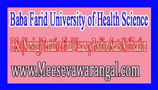 Baba Farid University of Health Science B.Sc (Nursing) Tentative Final Vacancy Position Seats Notification