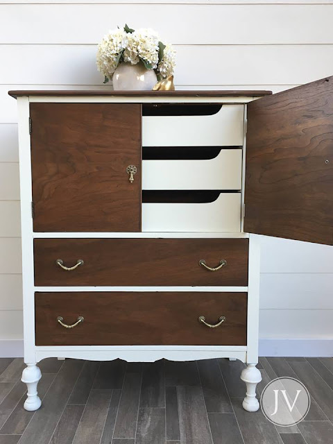 white and wood stained dresser
