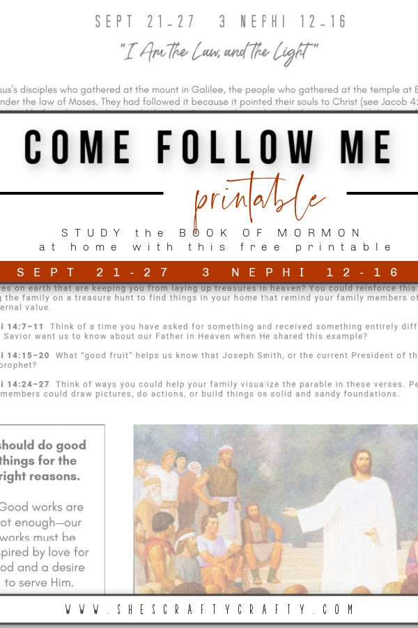 Come Follow Me Home Study Printable Sept 21-27