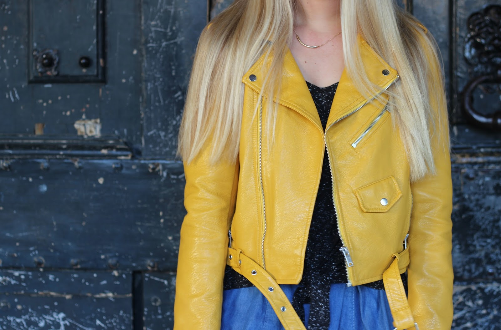 Veste perfecto jaune moutarde