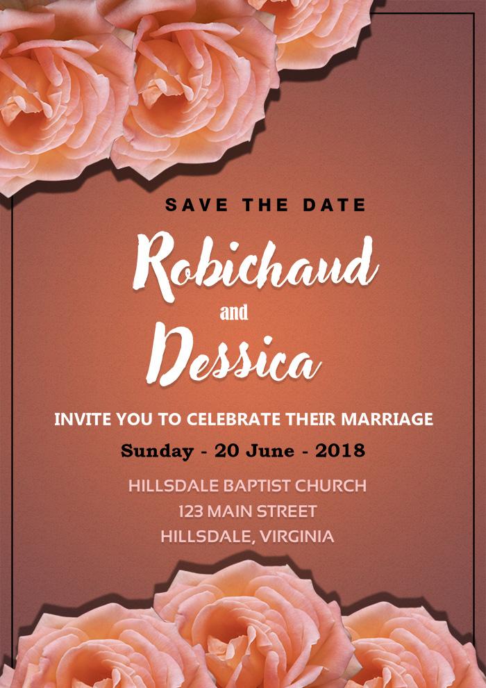Romantic Wedding Invitation Card Template Psd