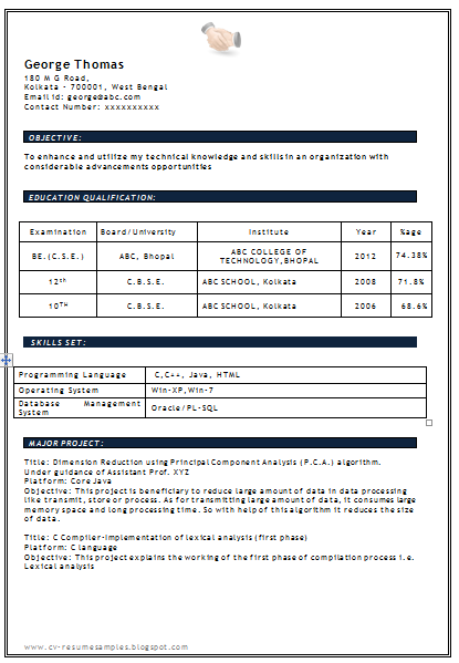 Resume For Freshers Cse download link for for b e in