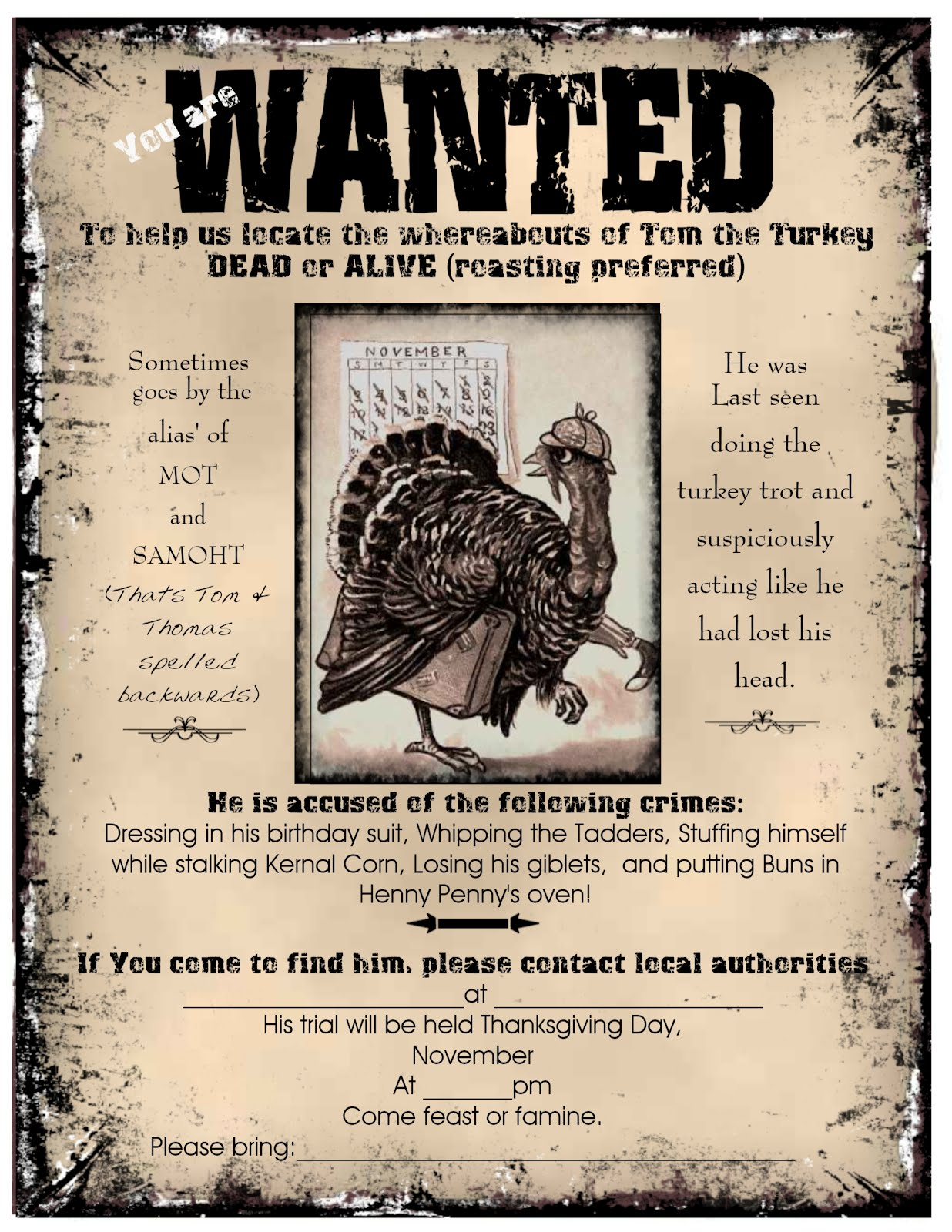 Visiting Teaching Tips Handouts And Ideas Thanksgiving Dinner Invitation Wanted Poster