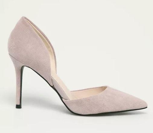 Answear Lab - Pantofi cu toc bej din piele eco intoarsa