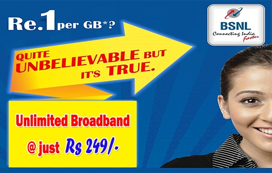 BSNL extended promotional Unlimited Combo Broadband plan - 'Experience Unlimited BB 249' till 31st December 2016 in all the circles