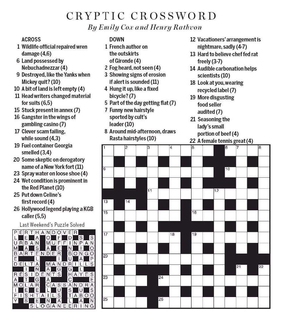 National Post Cryptic Crossword Forum Saturday July 4 2020 Exceptional Camouflage