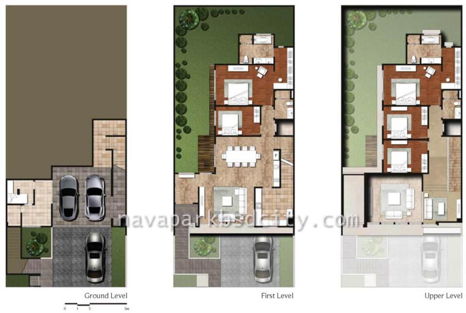 Denah Lantai Tipe 12 rumah Lakewood Navapark