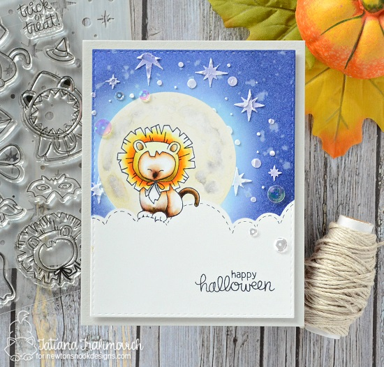 Halloween Cat dressed as a Lion | Card by Tatiana Trafimovich | Newton's Costume Party Stamp Set and Die Set by Newton's Nook Designs #newtonsnook #handmade