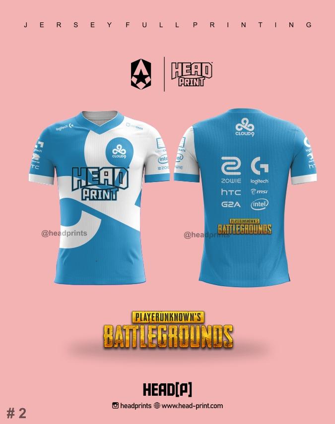 Blue Sky White Esports Jersey Full Printing - Contoh Desain Jersey - Jersey Satuan