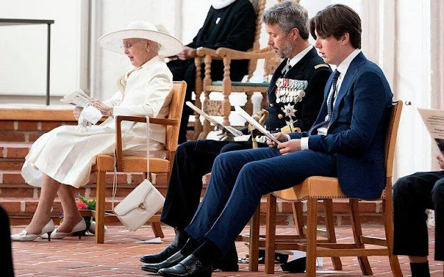Queen Margrethe, Crown Prince Frederik, Prince Christian, German President Steinmeier and his wife Elke Büdenbender