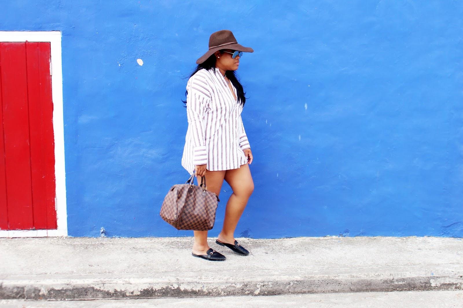 american eagle, floppy hat, shirt dress, stripes, gucci, loafers, louis vuitton, speedy 35