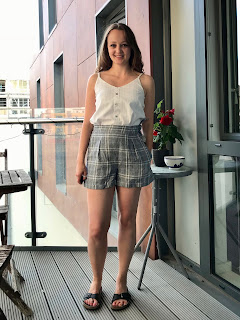 Checked Linen Flint Shorts and Embroidered Ogden Cami