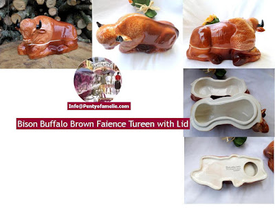 vintage Bison Brown Faience Tureen with Lid, Buffalo lidded bowl, used as pate terrine dish, perfect for farmhouse kitchen decor