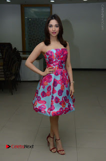 Actress Tamanna Latest Images in Floral Short Dress at Okkadochadu Movie Promotions  0141.JPG