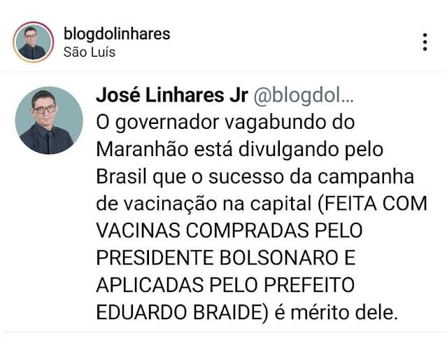 Jornalista Linhares Júnior chama Flávio Dino de vagabundo!!!