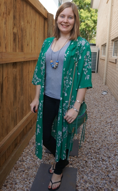 monochrome grey tee and jeans outfit with Jeanswest Delilah Long Line Kimono in Green Floral sahm style | awayfromblue