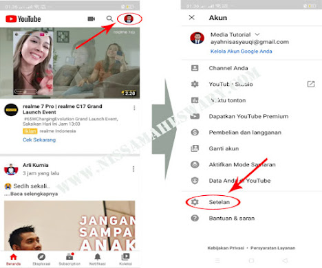 Cara seting mode malam di youtube android