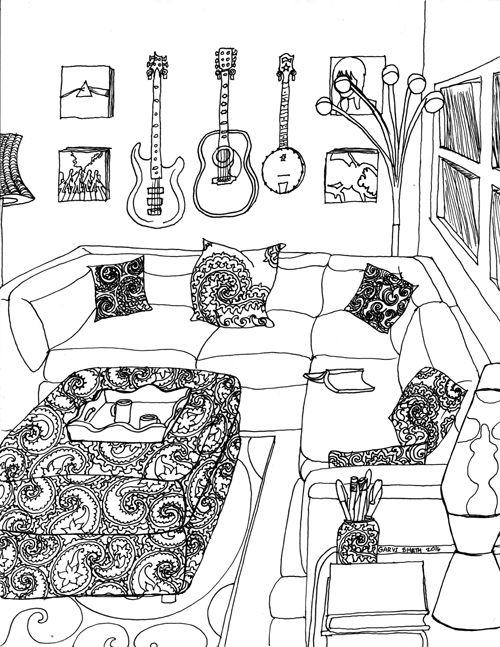 Tranh tô màu phòng khách âm nhạc