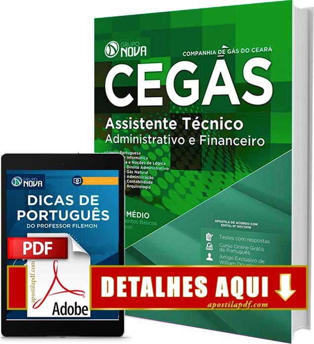 Apostila CEGÁS 2016 PDF Impressa Assistente Técnico Administrativo e Financeiro