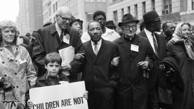 Mục sư nổi tiếng Martin Luther King tại cuộc biểu tình phản chiến ở New York tháng 3/1967