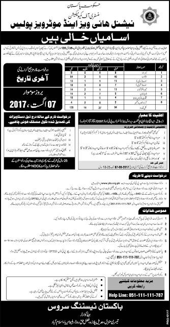 Jobs in Pakistan National Highway & Motor Way Police Jobs