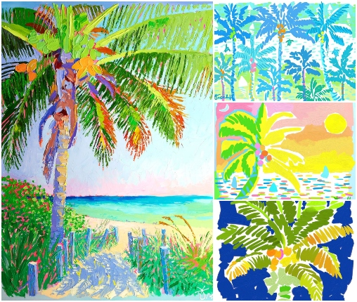 Colorful Palm Tree Art Prints from Pallet Knife Paintings Reproductions