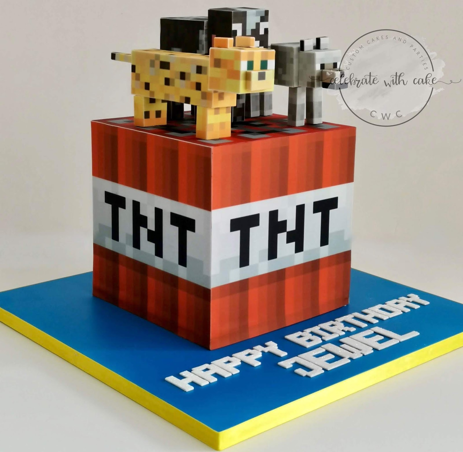 Celebrate With Cake Minecraft Tnt Box With Leopard Wolf And Cow