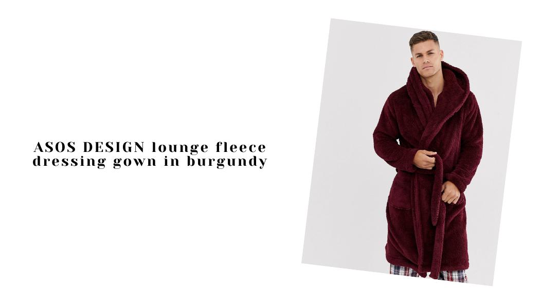ASOS DESIGN lounge fleece dressing gown in burgundy