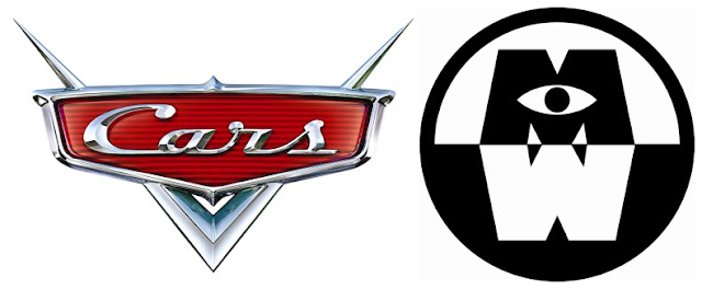 Cars and Monsters at Work Logo Disney Plus