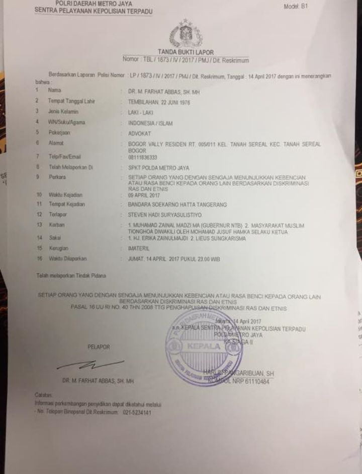 Jusuf Hamka, Lies, Zeng Wei Jian dkk. Seret Kasus Steven ke Kepolisian