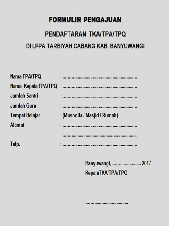 Lppa Tarbiyah Kab Banyuwangi Formulir Pendaftaran Tpa Tpq Baru