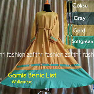 gamis list kancing umbrella bahan wollycrepe