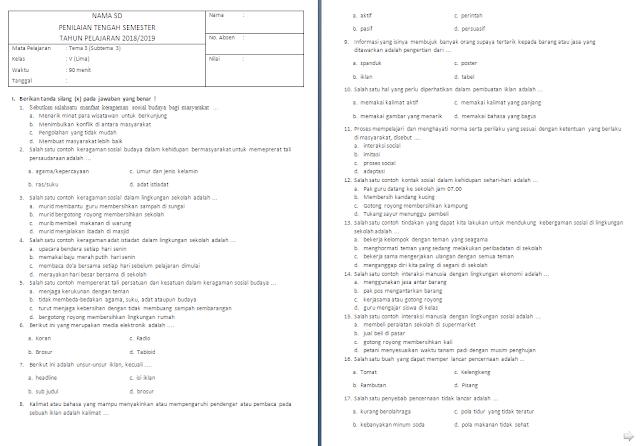 Soal UTS kelas 5 SD/MI Tema 3 Subtema 3