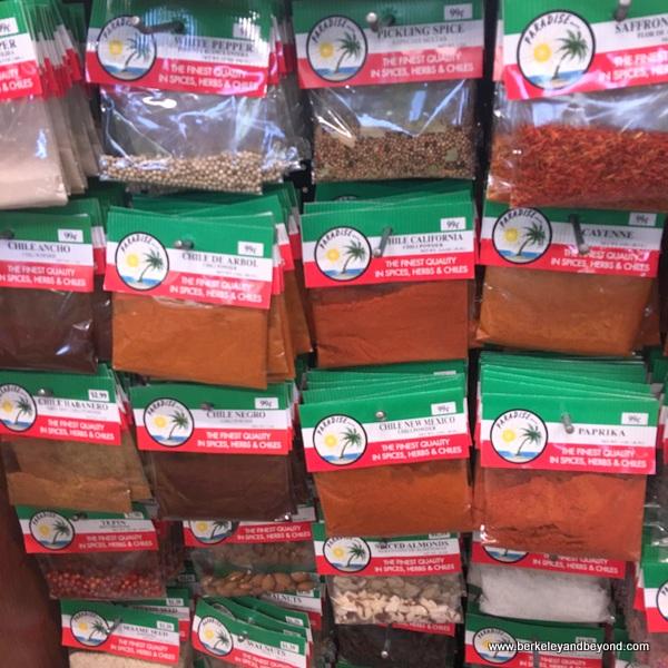 packaged spices at Mi Tierra Foods in Berkeley, California