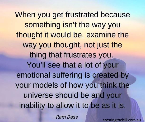 When you get frustrated because something isn't the way you thought, examine your thinking, not just the thing that frustrates you. Ram Dass