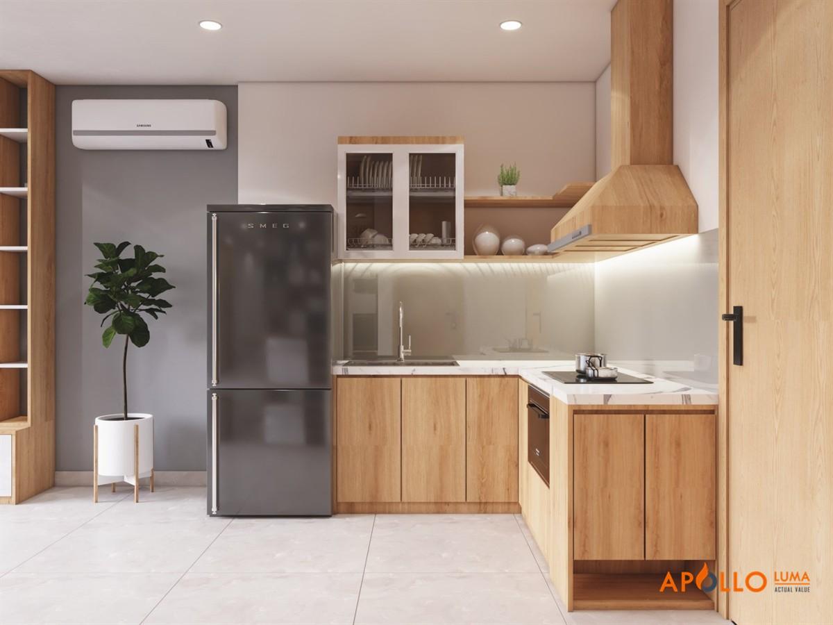 Thiết kế bếp chữ L mẫu 3: Phong cách Homestay đơn giản đẹp mắt