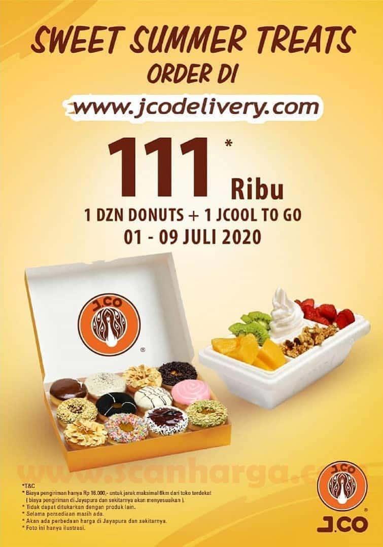Promo Jco Sweet Summer Treats 1 Dzn Donuts + 1 Jcool To Go Only Rp 111 RIbu Periode 1 - 9 Juli 2020