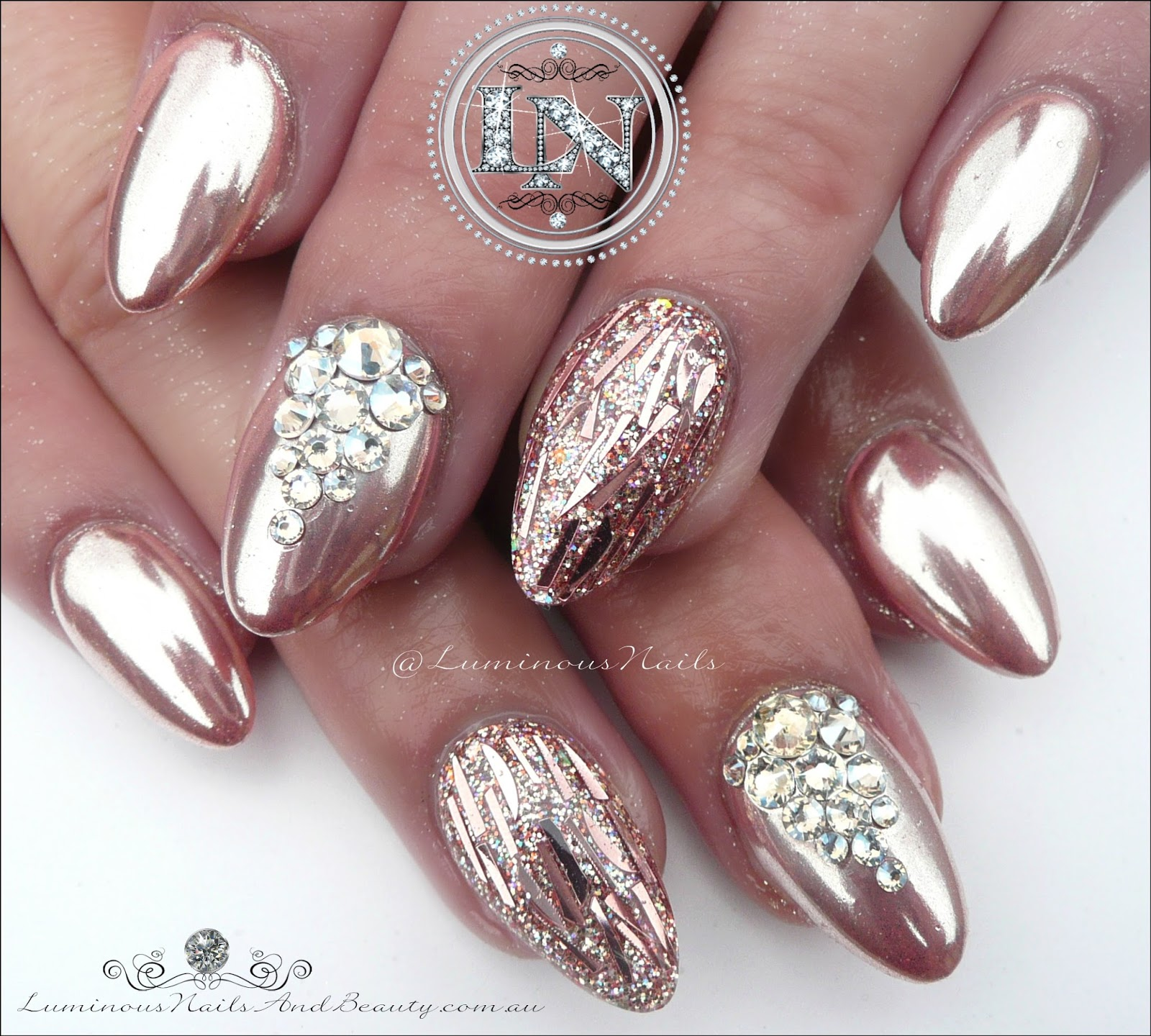 Glamorous Rose Gold Chrome Glitter Confetti With Swarovski Crystal Bling Acrylic Gel Nails