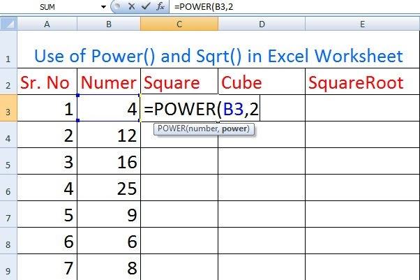 The Use of POWER( ) function in MS Excel Worksheet