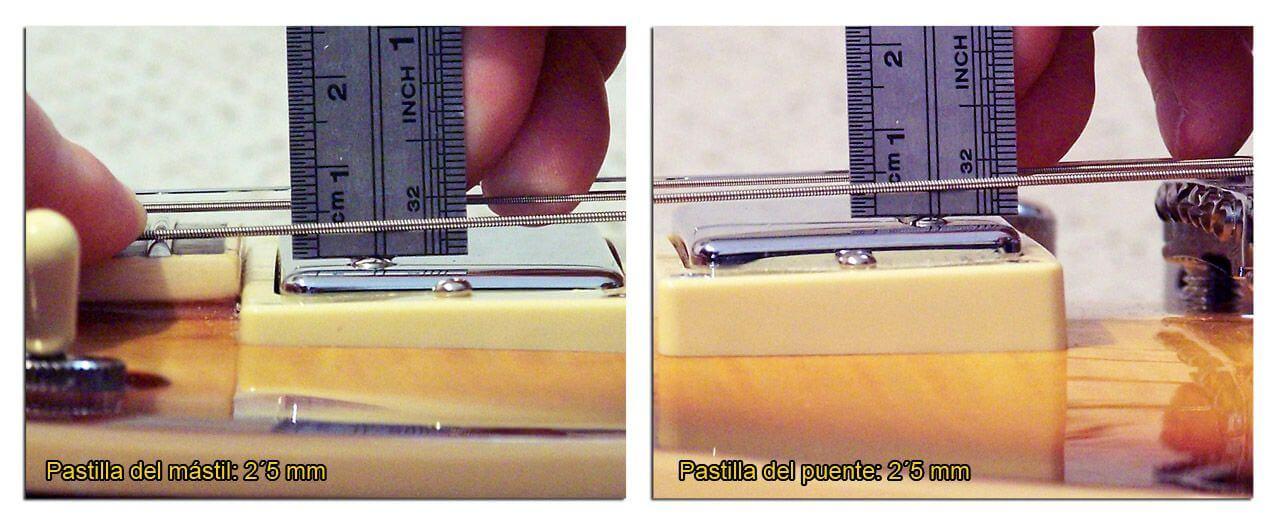 Medidas de la Altura de las Pastillas Humbucker en la Cuerda Gruesa