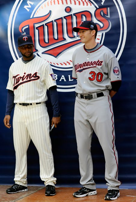 8ec39094969 Clean, economical, and razor-sharp detail grace the Twins 1960's throwback home  jersey and new road 2010 version. Our fine, young diamond gladiators Denard  ...