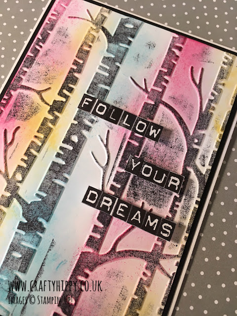 Follow Your Dreams Card. Make this simple card using the Labeler Alphabet stamp set and the Woodland Embossing Folder from Stampin' Up!