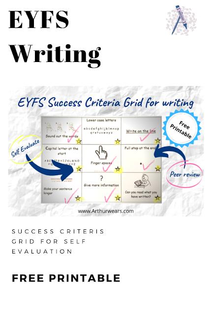 eyfs writing success criteria grid