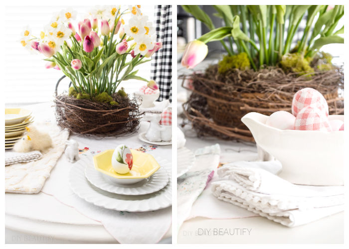 sweet vintage Easter table with tulips, eggs and chicks