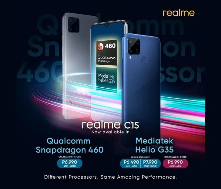 Realme Launches realme C15 w/ Snapdragon 460 for Php6,990 and realme C15 w/ Helio G35 + 128GB for Php7,990