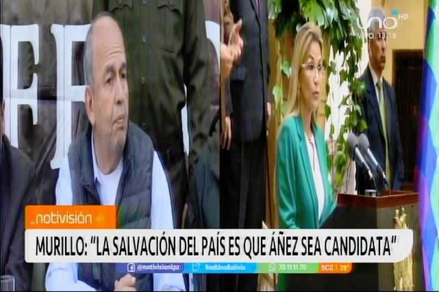 """Murillo: """"Jeanine Áñez sería la salvación para este país ante el desastre de la dispersión del voto"""""""