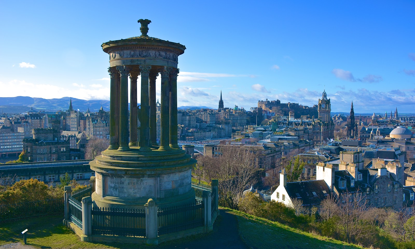 Dugald Stewart Monument and the Old Town of Edinburgh